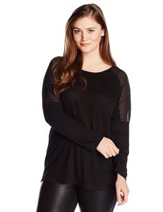 BB Dakota Women's Plus-Size Imani Jersey Tee with Chiffon Insets >>> Don't get left behind, see this great  product : Fashion