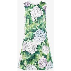 Dolce & Gabbana Sleeveless Hydrangea Print Dress ($1,585) ❤ liked on Polyvore featuring dresses, green, green lace dress, green sleeveless dress, flower print dress, lace dress and sleeveless dress
