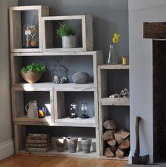 cube shelfcube shelfReclaimed Wood Vintage Box Shelves - Crazy For The HouseReusable wood shelves from Home Barn (UK) - perfect for tenants; many different sizes / combinations to fit your space! Wood Box Shelves, Wood Shelving Units, Wood Boxes, Shelving Decor, Rustic Bookshelf, Cupboard Shelves, Box Storage Unit, Reclaimed Furniture, Refinished Furniture