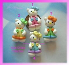 Kitty wt Overall Jumper Polymer Clay Charm Bead by RainbowDayHappy, $2.75