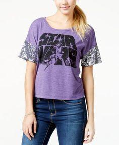 Juniors' Sequined Star Wars Logo Graphic T-Shirt from Hybrid - Tops - Juniors - Macy's