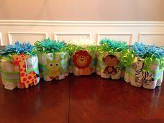 Mini safari diaper cakes for baby shower