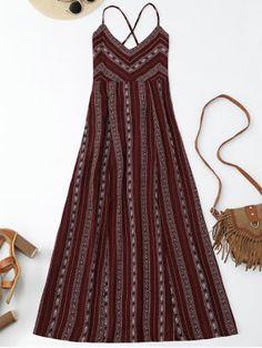 Slit Stripe Lace Up Backless Maxi Dress - Wine Red Boho Fashion, Fashion Outfits, Trendy Fashion, Fashion News, Trendy Style, Fashion Sale, Paris Fashion, Fashion Fashion, Runway Fashion