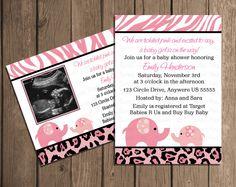Pink Safari Baby Shower Elephant Girl Baby Shower Invitation OR Thank you Card DIY Digital Printable  File. $7.50, via Etsy.
