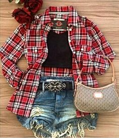 Cheap Outfits, Cheap Clothes, Cute Outfits, Cute Makeup, School Outfits, Plaid, Shorts, Women, Style