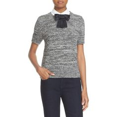 Women's Kate Spade New York Bow Collar Short Sleeve Sweater ($298) ❤ liked on Polyvore featuring tops, sweaters, black, kate spade sweaters, short sleeve sweater, bow top, kate spade top and layered tops