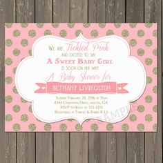 Pink and Gold Baby Shower Invitation Tickled by PartyPopInvites