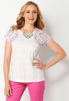 b11b42fd03e Women s Petite Paisley Placed Shldr Tee from Christopher   Banks®