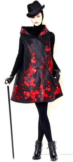 Alexander McQueen | red flowers on black coat