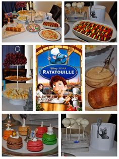 Disney Dinner and a Movie Night ~  Ratatouille Party. We had Remy's ratatouille, Gusteau's Cheese spread, Skinner's grapes, Emile's cheese and crackers, Colette's French bread and Linguini's linguine. To drink we had Anton Ego's wine (grape juice) and for dessert, a chef's hat cake pop. For a snack during the movie we had a French mini macaroon with a Ratatouille character on top.