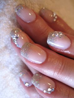 nail designs with rhinestones - Maybe too much rhinestones for me but still very pretty!