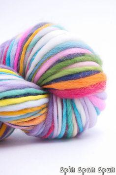 rainbow handspun hand painted organic merino wool yarn, heavy worsted