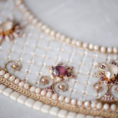 No automatic alt text available. Pearl Embroidery, Bead Embroidery Patterns, Tambour Embroidery, Hand Work Embroidery, Couture Embroidery, Creative Embroidery, Embroidery Fashion, Hand Embroidery Designs, Embroidery Dress