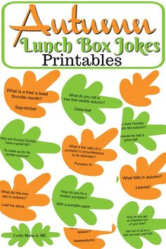 Autumn Lunch Box Jokes for Kids – Crafty Mama in ME! Autumn Lunch Box Jokes for Kids Funny Jokes For Kids, Silly Jokes, Kid Jokes, Kids Humor, Cheesy Jokes, Funny Puns, Funny Stuff, Autumn Activities, Activities For Kids