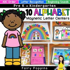 Fun alphabet centers and activities using magnetic letters. Great for preschool, pre-k and kindergarten. These hands-on activities focus on letter recognition, beginning sounds, abc order and letter formation. Spelling Activities, Preschool Letters, Kindergarten Literacy, Alphabet Activities, Literacy Centers, Magnetic Letters, Tracing Letters, Alphabet Letters, Easter Activities For Kids