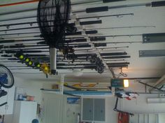 Create overhead storage in your garage to keep #fishing rods out of the way and free from damage.