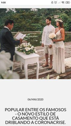 Popular entre os famosos - O novo estilo de casamento que está driblando a coronacrise. Elope Wedding, Dream Wedding Dresses, Wedding Day, Casual Bridesmaid, 40s Dress, Beach Wedding Inspiration, Bouquet, Private Wedding, Boho Wedding