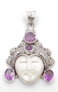 This incredibly detailed handmade Goddess face pendant is made of bone and surrounded by detailed sterling silver that took nearly 15 hours of labor to design.  Genuine amethyst gemstones surround the Goddess face. Available in other styles and gemstone colors as well at: http://www.silverbybali.com/apps/webstore/products/category/712358?page=1.