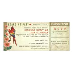 """boarding pass wedding tickets with rsvp custom invitations vintage wedding plane ticket - boarding pass with rsvp in one. I suggest the """"Linen"""" or """"Felt"""" paper for this design. If you need more additional products (like rsvp, reception, letterheads, wedding stickers etc), please contact me."""
