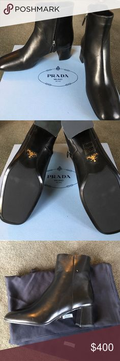 NWT Prada black leather boots Sz37 Amazing black leather Prada boots --- never worn.  All original with box, dust bags and packaging. Gold logo on bottom. Prada Shoes Ankle Boots & Booties
