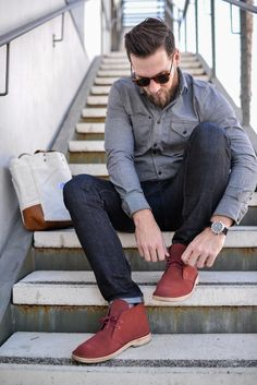 Clarks desert boots terracotta - Google Search Fashion Boots, Men Fashion, Autumn Fashion, Fashion Design, Clarks Desert Boot, Desert Boots, Formal Shoes, Casual Shoes, Clark Shoes
