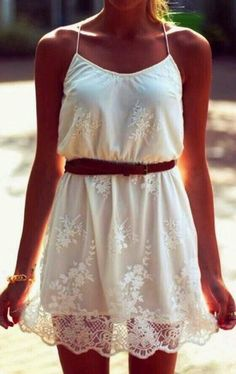 White lace summer dress with brown belt