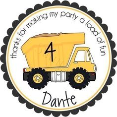 Construction Dump Truck Personalized Stickers - Party Favor Labels, Address Labels, Birthday Stickers, Dumptruck - Choice of Size. $6.00, via Etsy.