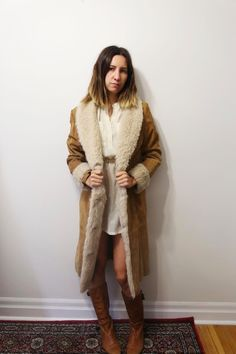 VINTAGE 70s Long Tan Suede Coat Faux Shearling Collar S (just like PENNY LANE)