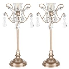 2-Piece Candlestick Holder Set with Glass Crystals | Champagne | Tiffany Collection