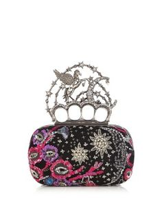 Flying-unicorn sequin-embellished knuckle clutch   Alexander McQueen   MATCHESFASHION.COM