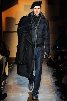 Les Hommes Rugged Tweed Plaid Leather Trim Bomber