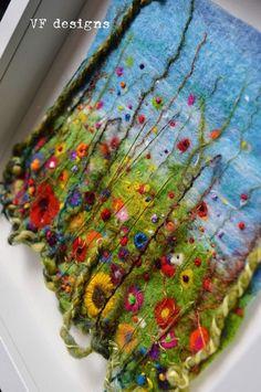 Handmade colourful wet felt and textural embroidery by designVF Wet Felting Projects, Needle Felting Tutorials, Felt Wall Hanging, Felt Pictures, Felt Embroidery, Textile Fiber Art, Wool Art, Nuno Felting, Felt Art