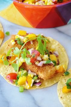 """Beer Battered """"Fish"""" Tacos with Mango Salsa"""