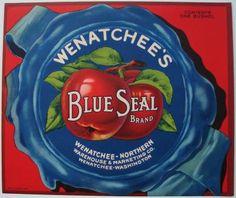 BLUE SEAL Vintage Wenatchee Apple Crate Label, Northern