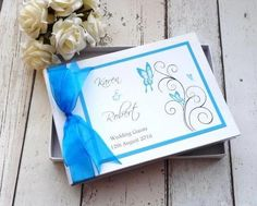 Classic Frame personalised wedding guest book Swirl Butterfly
