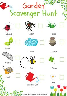 Looking for fun things to do this spring and summer? This outdoor garden scavenger hunt is fun - ideal for toddlers and children. Get them hunting for nature and insects right in your garden. hunt and hunt trail Outdoor Scavenger Hunts, Scavenger Hunt For Kids, Nature Scavenger Hunts, Nature Hunt, Toddler Activities, Indoor Activities, Summer Activities, Baby Activites, Toddler Preschool