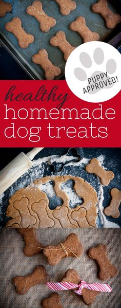 Healthy Homemade Dog Treats- pumpkin and applesauce make these a special treat for your fur babies! These would be a great homemade DIY gift for the fury loved ones in your life this Christmas season. Back To Her Roots Dog Treat Recipes, Dog Food Recipes, Bread Recipes, Recipes Dinner, Chien Goldendoodle, Diy Cadeau Noel, Pumpkin Dog Treats, Puppy Treats, Puppy Gifts