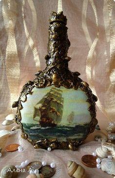 Декор предметов Декупаж Морская бутылка фото 2