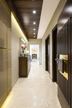 Apartment Design With Basic Concept of Simplicity And Elegance Foyer Design, Lobby Design, Corridor Design, Hallway Designs, Entrance Design, House Ceiling Design, Ceiling Design Living Room, Bedroom False Ceiling Design, House Design
