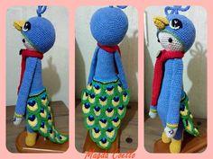 My beautiful peacock lalylala. Pixel Crochet, C2c Crochet, Crochet Doll Pattern, Crochet Patterns Amigurumi, Amigurumi Doll, Crochet Dolls, Crochet Baby, Cross Stitch For Kids, Cross Stitch Baby
