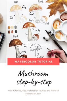 In this watercolor tutorial, you will learn how to paint a mushroom with watercolor. Click the image or link above to see the full art tutorial. Watercolor Beginner, Watercolor Paintings For Beginners, Step By Step Watercolor, Easy Watercolor, Watercolour Tutorials, Watercolor Techniques, Painting Tutorials, Watercolor Sketchbook, Watercolor Drawing