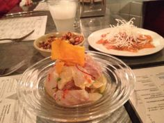 Some of our shared dishes and G's pisco sour at Ceviche