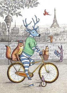 """""""Emily Wallis is the artist here. I've just found her lovely Illustrations These daring animals are visiting Paris. They may need that hare and his map. Mr Reindeer is dressed in correct striped gear"""" Bike Silhouette, Preschool Decor, Bike Drawing, Bike Illustration, Happy Images, Animal Cards, Art File, Mail Art, Woodland Animals"""