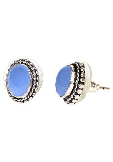 Powder Blue Moon Studs  Product # [JES433]    Delicate oval-shaped natural stones in a grey-blue hue are framed by silver metal work with a lacy look. These stud earrings will leave you moonstruck!   $ 24.00