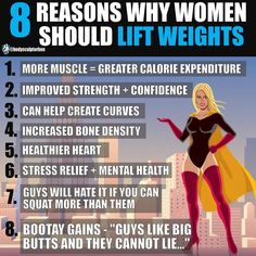 8 reasons women should lift weights! To be honest most of the reasons why women should lift weights is much the same as why anyone should lift weights. There are a heap load of benefits for both sexes. More muscle = more calories burned at rest! Meaning y Muscle Building Women, Muscle Building Tips, Gain Muscle, Build Muscle, Muscle Mass, Weight Lifting Benefits, Fitness Tips, Fitness Motivation, Easy Fitness