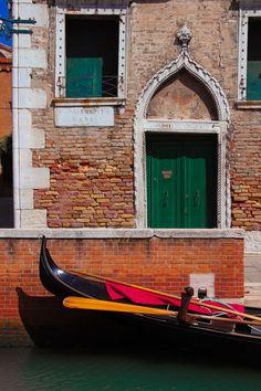 Italian Fine Art Photograph No. 9326. 8x10 Venice Italy Dorsoduro Gondola Green Brick Doorway Boat Sea Marine Jolly Adventure Arch Crumbling