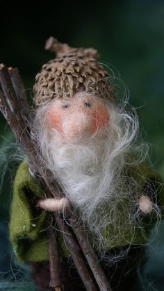 this inch Acorn Gnome has wire in his arms. The cap is a real Acorn cap Needle Felted Animals, Felt Animals, Wet Felting, Needle Felting, Felt Fairy, Soft Sculpture, Modern Sculpture, Waldorf Dolls, Vintage Crafts