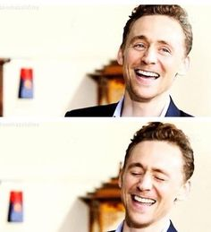 Tom Hiddleston laughing. How can you not smile seeing someone so happy? (I'm dying to know, btw, how this precious boy gets so happy?!)