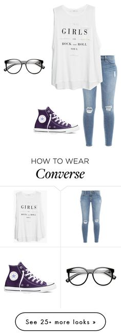 """hello it's me...."" by moonhauntedmyocean on Polyvore featuring Frame Denim, MANGO, Converse and ZeroUV"