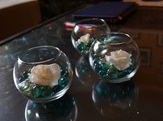 More teeny fishbowl centerpieces. Love.